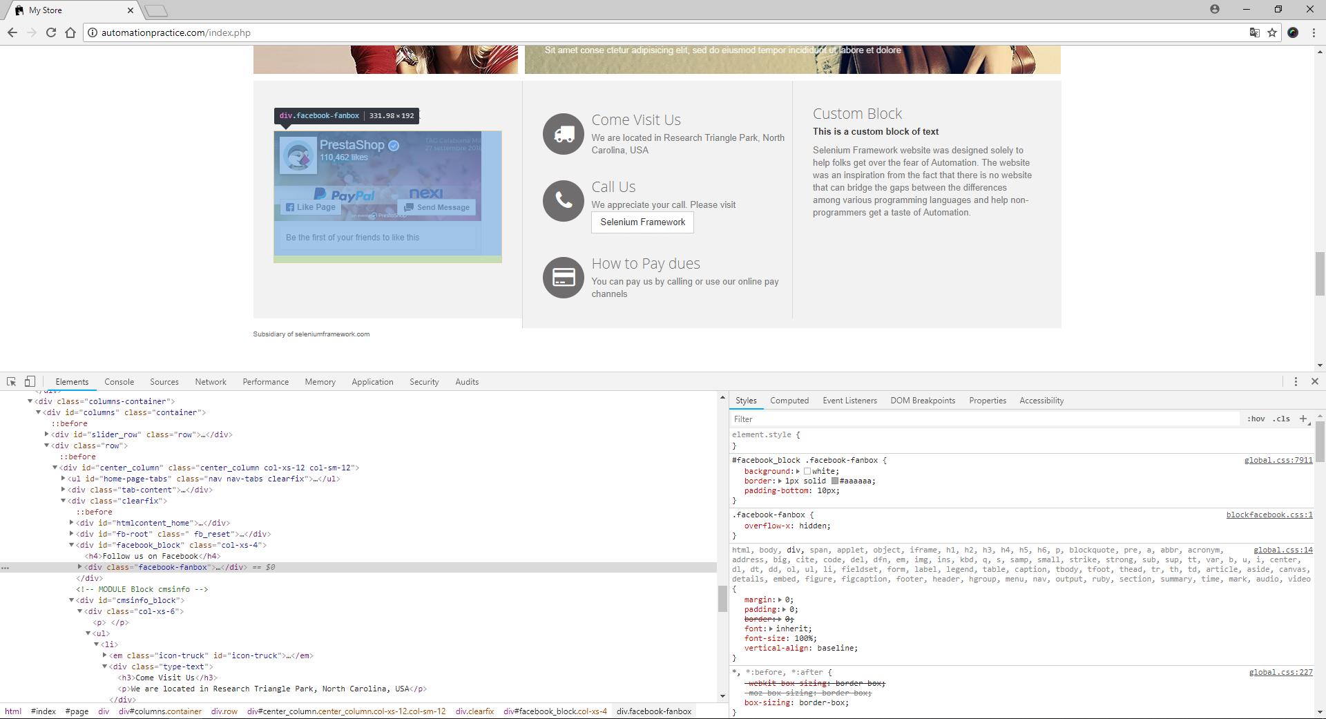 Konsola deweloperska - przykład stylu CSS na stronie automationpractice.com