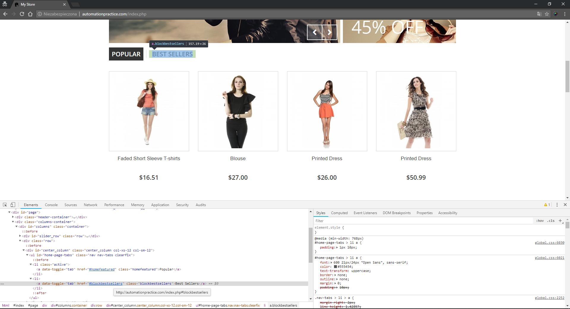 Przykład web elementu ze strony automationpractice.com